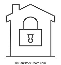 House with lock thin line icon, smart home concept, House under protection vector sign on white background, home security system icon in outline style for mobile and web design. Vector graphics.