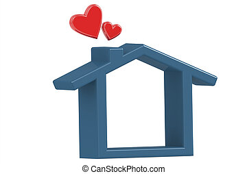 House with love isolated on white background