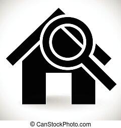 House with Magnifier. Icon for real estate, renovation,...