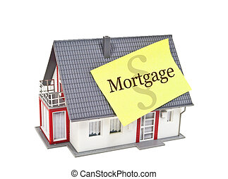 House with mortgage isolated on white background