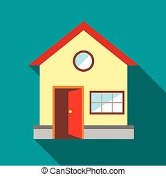 House with open door icon, flat style