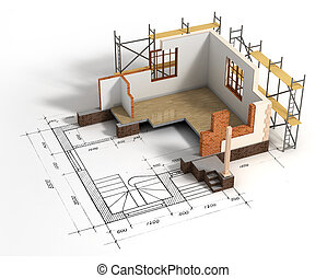 House with open interior on top of blueprints. Construction concept.