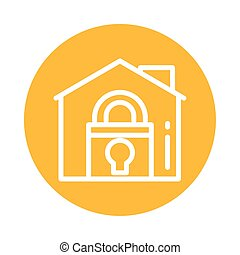 house with padlock, block and flat style icon