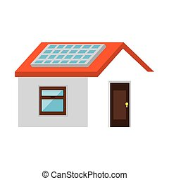 house with panel solar vector illustration design