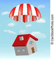 house with parachute on a sky background