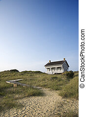 Coastal house with pathway to beach on Bald Head Island, North Carolina.