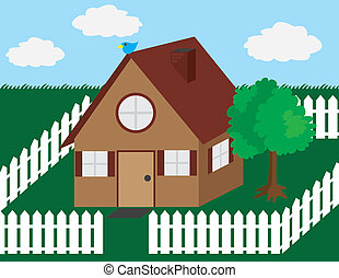 House illustration with picket fence and tree.