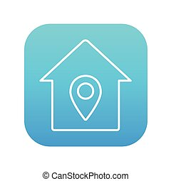 House with pointer line icon.