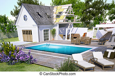 House with pool under construction