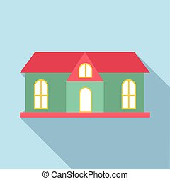House with red roof icon, flat style