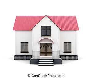 House with red roof isolated. 3d rendering