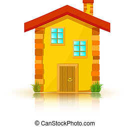 House with red roof isolated on white background. Cartoon. Vecto