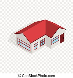 House with red roof isometric icon