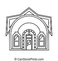 House with round roof icon, outline style - House with round...