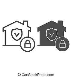 House with safety emblem and lock line and solid icon, smart home symbol, property protection vector sign on white background, approved building security icon in outline style. Vector graphics.