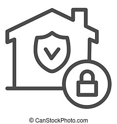 House with safety emblem and lock line icon, smart home symbol, property protection vector sign on white background, approved building security icon in outline style. Vector graphics.
