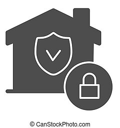 House with safety emblem and lock solid icon, smart home symbol, property protection vector sign on white background, approved building security icon in glyph style. Vector graphics.