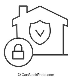 House with safety emblem and lock thin line icon, smart home symbol, property protection vector sign on white background, approved building security icon in outline style. Vector graphics.
