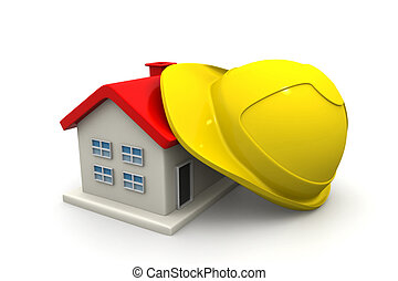 House  with safety helmet
