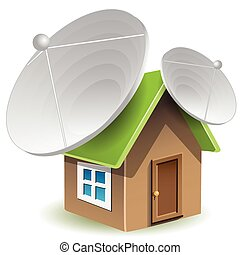 illustration, house with two satellite dishes on roof