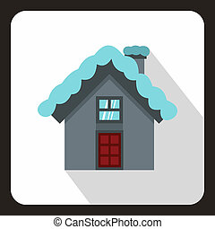 House with snow on roof icon, flat style