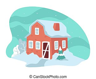 House with snowy rooftop, winter landscape in countryside