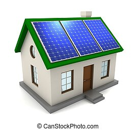 house with solar panel concept 3d illustration