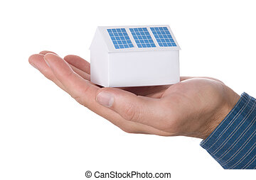 House with solar panel - Paper house with solar panel -...