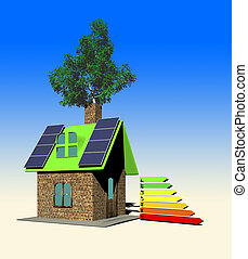 house with solar panels, 3d render