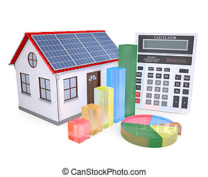 House with solar panels, a calculator and graph