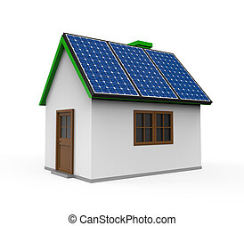House with Solar Panels isolated on white background. 3D...