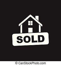 House with sold sign. Flat vector illustration on black background