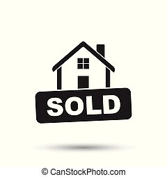House with sold sign. Flat vector illustration on white background