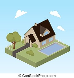 House with swimming pool isometric vector