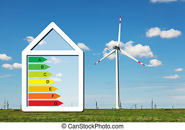 house with the sign of energy saving on a background of field with windmills