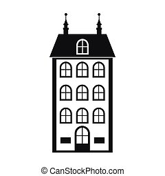 House with three floors icon, simple style