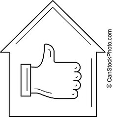 House with thumb up line icon.