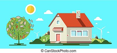 House with Tree. Vector Flat Design Illustration. Nature. Natural Scene.