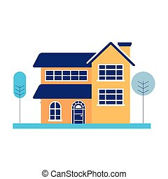 house with trees on white background