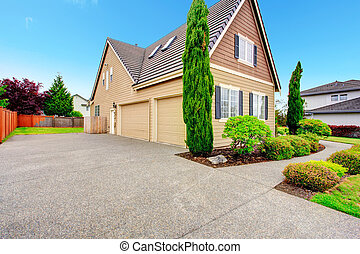 House with two car garage.