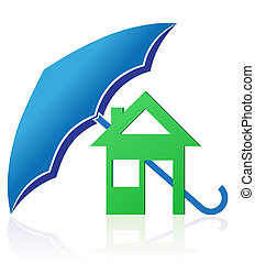 house with umbrella concept illustration