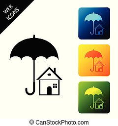 House with umbrella icon isolated. Real estate insurance symbol. Real estate symbol. Protection, safety, security, protect, defense concept. Set icons colorful square buttons. Vector Illustration