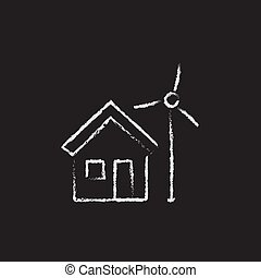 House with windmill icon drawn in chalk.