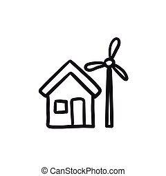 House with windmill sketch icon.