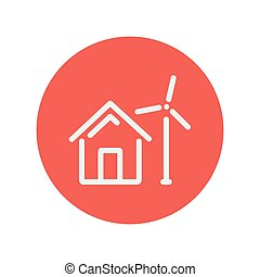 House with windmill thin line icon