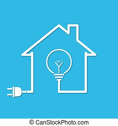 House with wire plug and light bulb - vector illustration