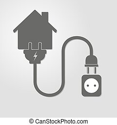 House with wire plug and socket - vector illustration -...