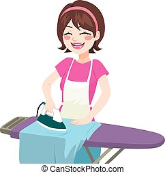 House Woman Ironing - Young beautiful happy woman smiling...
