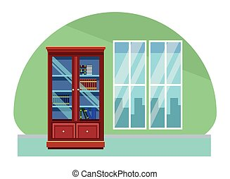 House wooden library with window doors