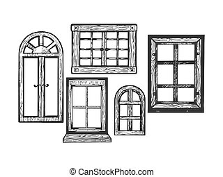 House wooden old windows engraving vector illustration....